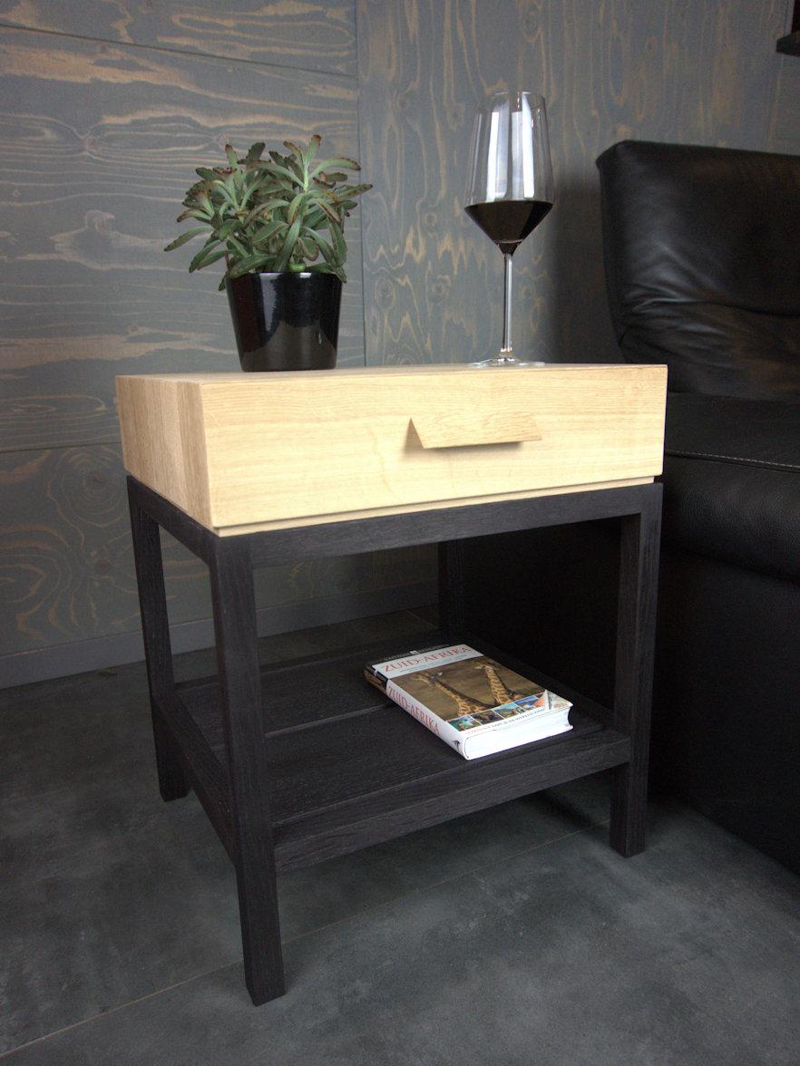 nightstand / sidetable in black oak by RHOOTZ.nl