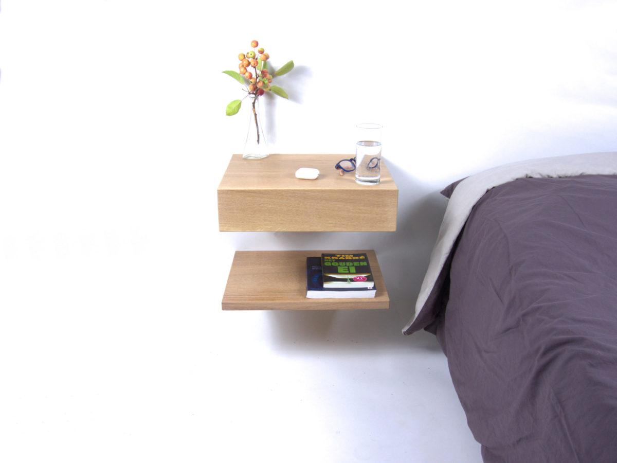 Hangend, zwevend nachtkastje Little Sesam in naturel eiken