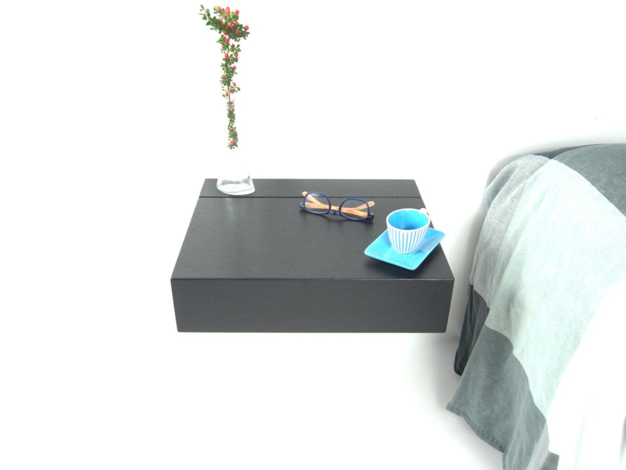 Zwart zwevend nachtkastje Little Sesam