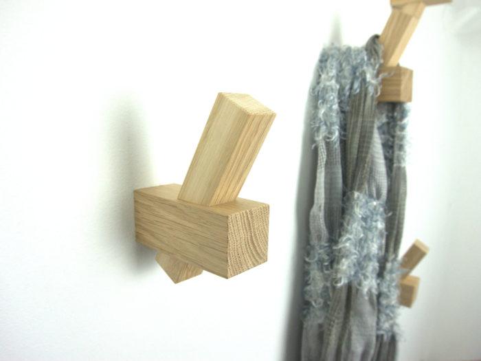 Muurhaak / kapstok eiken model TROY