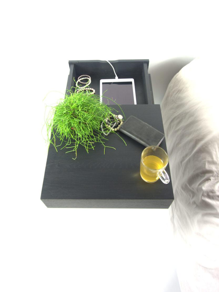 Zwart eiken smart nachtkastje