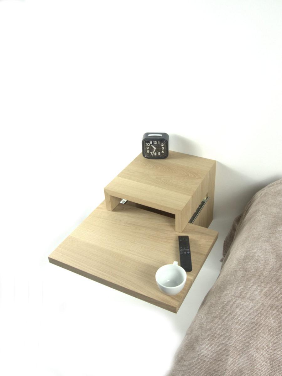 Zwevend / hangend smart nachtkastje in eikenhout