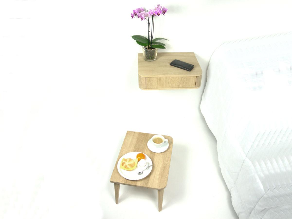 Zwevend nachtkastje naturel eiken met bedtafeltje cq dienblad